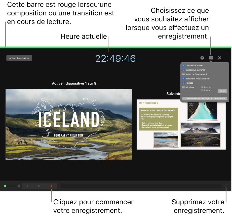 Capture d'écran du mode d'enregistrement de voix sur l'écran de l'intervenant. Les commandes de la diapositive active et de la suivante, de l'heure actuelle et de l'écran de l'intervenant sont affichées. La commande de démarrage et d'arrêt de l'enregistrement, ainsi que la commande de suppression de l'enregistrement s'affichent en bas de l'écran.