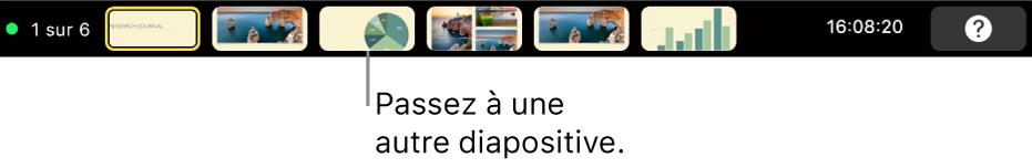 La TouchBar du MacBookPro avec des commandes de présentation pour quitter la présentation, accéder à d'autres diapositives et permuter l'affichage de l'intervenant.