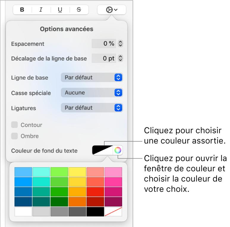 Commandes pour la sélection d'une couleur d'arrière-plan pour le texte.