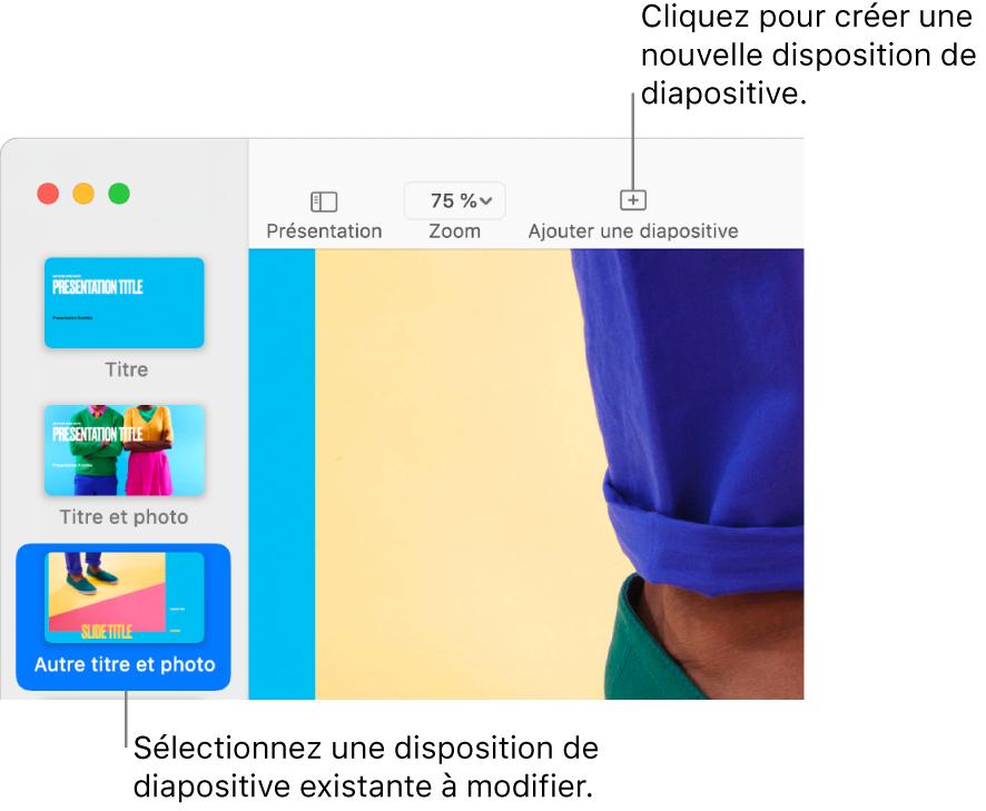 Une disposition de diapositive dans la zone dédiée, avec le bouton «Ajouter une diapositive» au-dessus dans la barre d'outils.