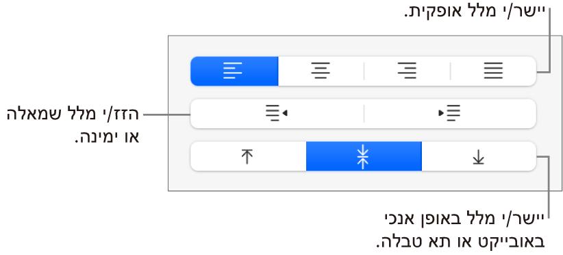 המקטע ״יישור״ בכפתור ״עיצוב״ עם הסברים לכפתורים של יישור מלל.