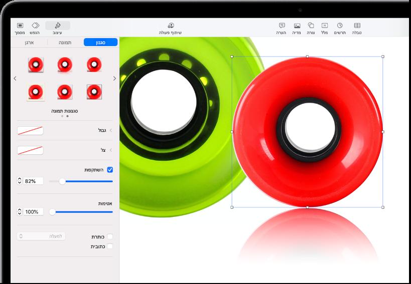 כלי הבקרה של ״עיצוב״ לשינוי הגודל והמראה של התמונה שנבחרה הכפתורים ״סגנון״, ״תמונה״ ו״ארגן״ ממוקמים מעל כלי הבקרה.