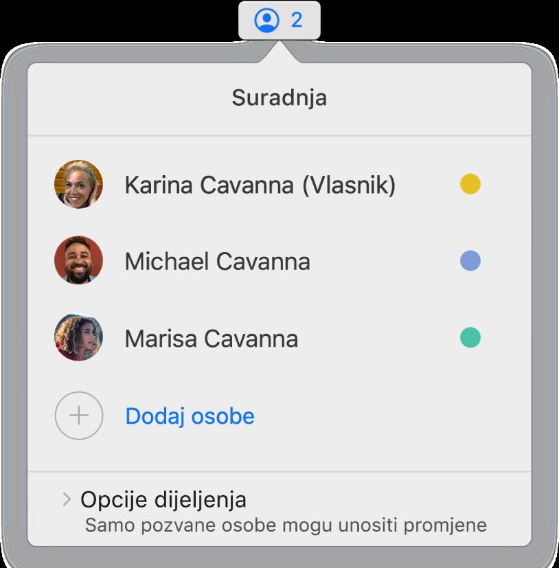 Izbornik Suradnja prikazuje imena ljudi koji surađuju na prezentaciji. Opcije dijeljenja nalaze se ispod imena.