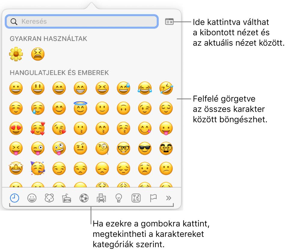 A Speciális karakterek előugró ablak, amelyben hangulatjelek, az ablak alján különböző típusú szimbólumokhoz tartozó gombok, valamint az összes karaktert megjelenítő ablak gombját ismertető felirat látható.