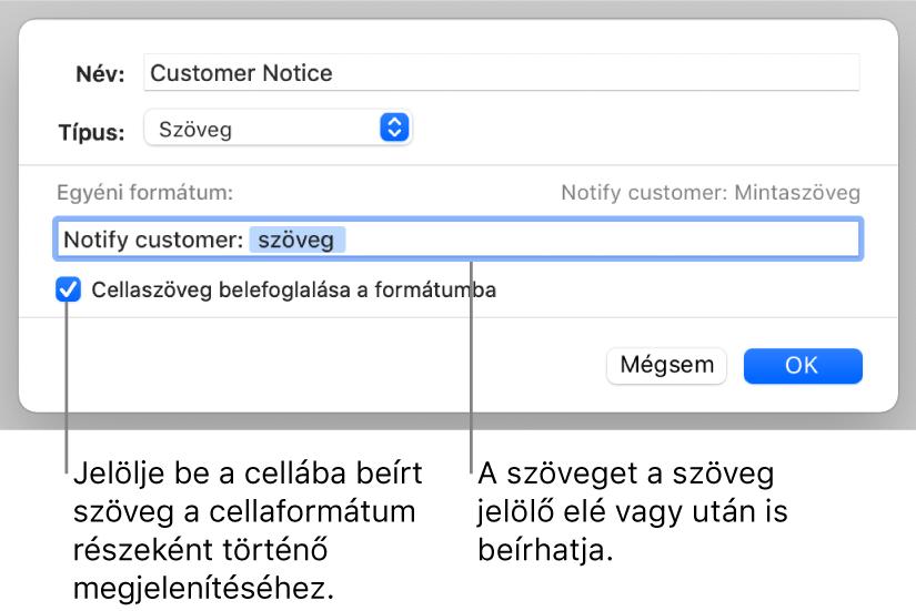 Egyéni szövegcella-formátum.