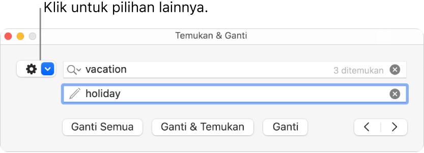Jendela Temukan & Ganti dengan keterangan pada tombol untuk menampilkan pilihan lainnya.