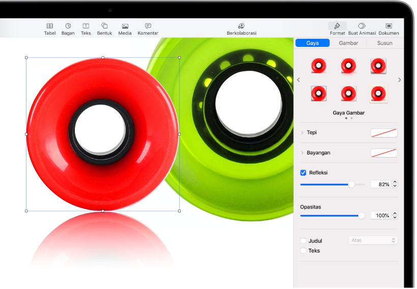 Kontrol Format untuk mengubah ukuran dan tampilan gambar yang dipilih. Tombol Gaya, Gambar, dan Susun ada di sepanjang bagian atas kontrol.