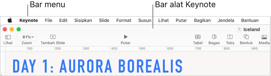 Bar menu di bagian atas layar dengan menu Apple, Keynote, File, Edit, Sisipkan, Format, Susun, Lihat, Bagikan, Jendela, dan Bantuan. Di bawah bar menu adalah presentasi Keynote yang terbuka dengan tombol bar alat di sepanjang bagian atas untuk Lihat, Zoom, Tambah Slide, Putar, Keynote Live, Tabel, Bagan, Teks, Bentuk, Media, dan Komentar.