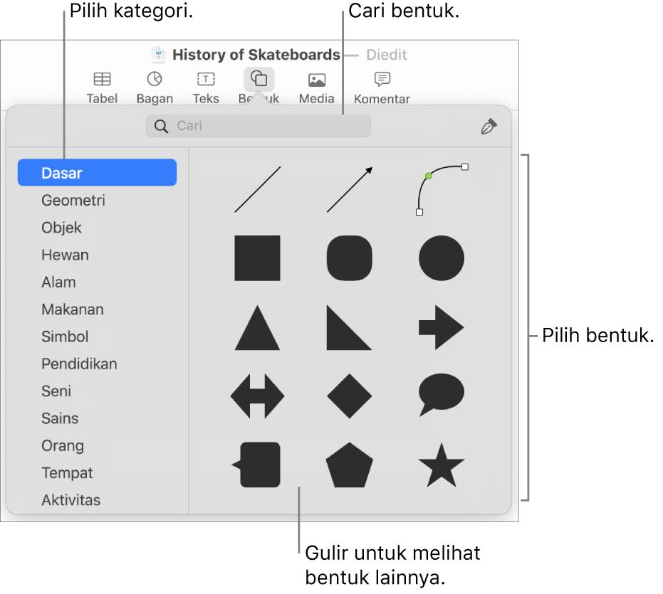 Perpustakaan bentuk, dengan kategori tercantum di kiri dan bentuk ditampilkan di kanan. Anda dapat menggunakan bidang pencarian di bagian atas untuk menemukan bentuk dan menggulir untuk melihat lainnya.