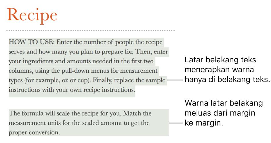 Satu paragraf dengan warna hanya di belakang teks dan paragraf kedua dengan warna di belakangnya yang diperpanjang dari margin ke margin dalam blok.