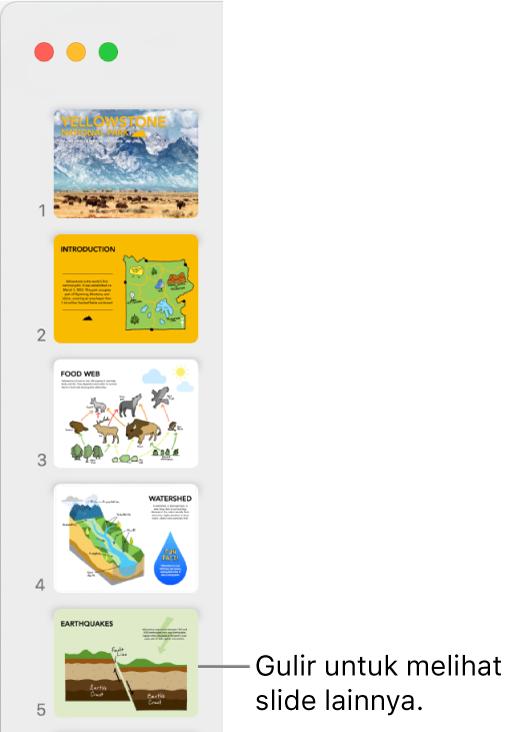 Navigator slide menggambarkan lima slide secara vertikal dalam urutan yang berurutan, dengan pilihan untuk menggulir ke bawah untuk melihat slide lainnya.