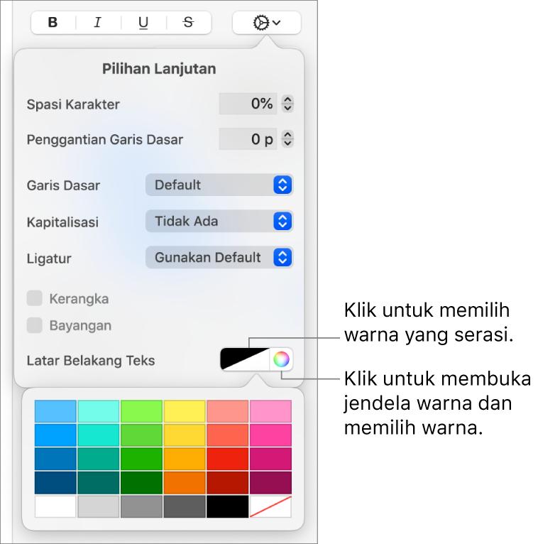 Kontrol untuk memilih warna latar belakang untuk teks.