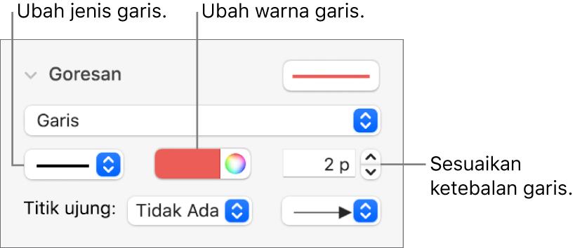 Kontrol goresan untuk mengatur titik akhir, ketebalan garis, dan warna.