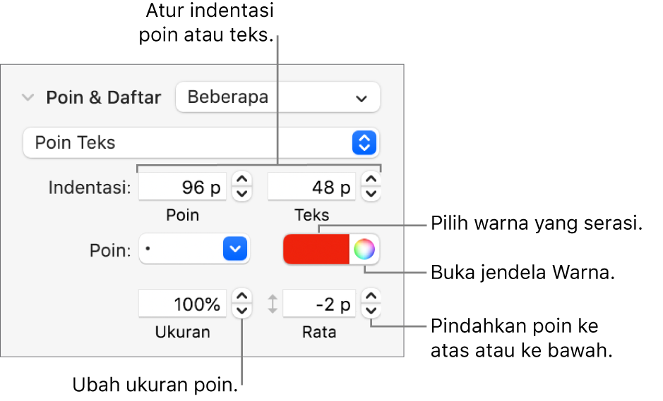 Bagian Poin & Daftar dengan keterangan pada kontrol untuk indentasi poin dan teks, warna poin, ukuran poin, dan perataan.