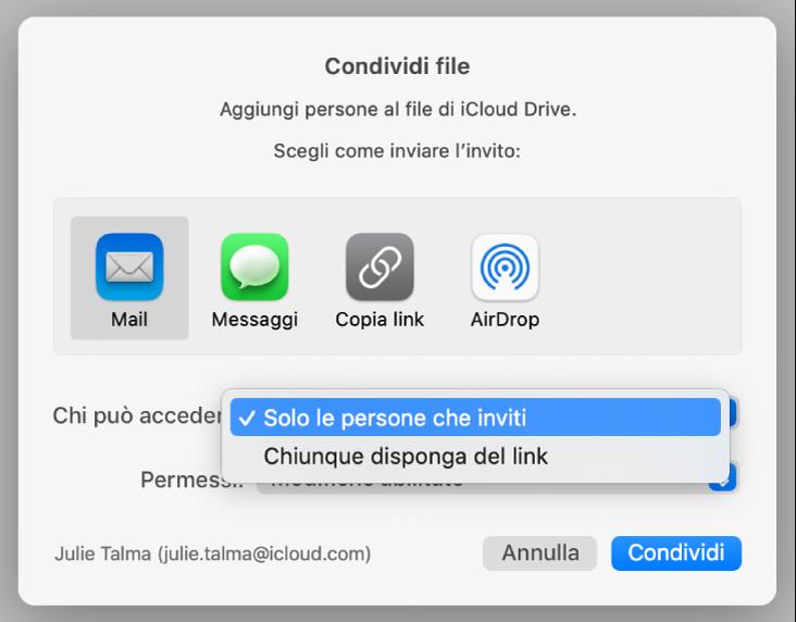 """la sezione """"Opzioni di condivisione"""" della finestra di dialogo di collaborazione con il menu a comparsa """"Chi può accedere"""" aperto e """"Solo le persone che inviti"""" selezionato."""