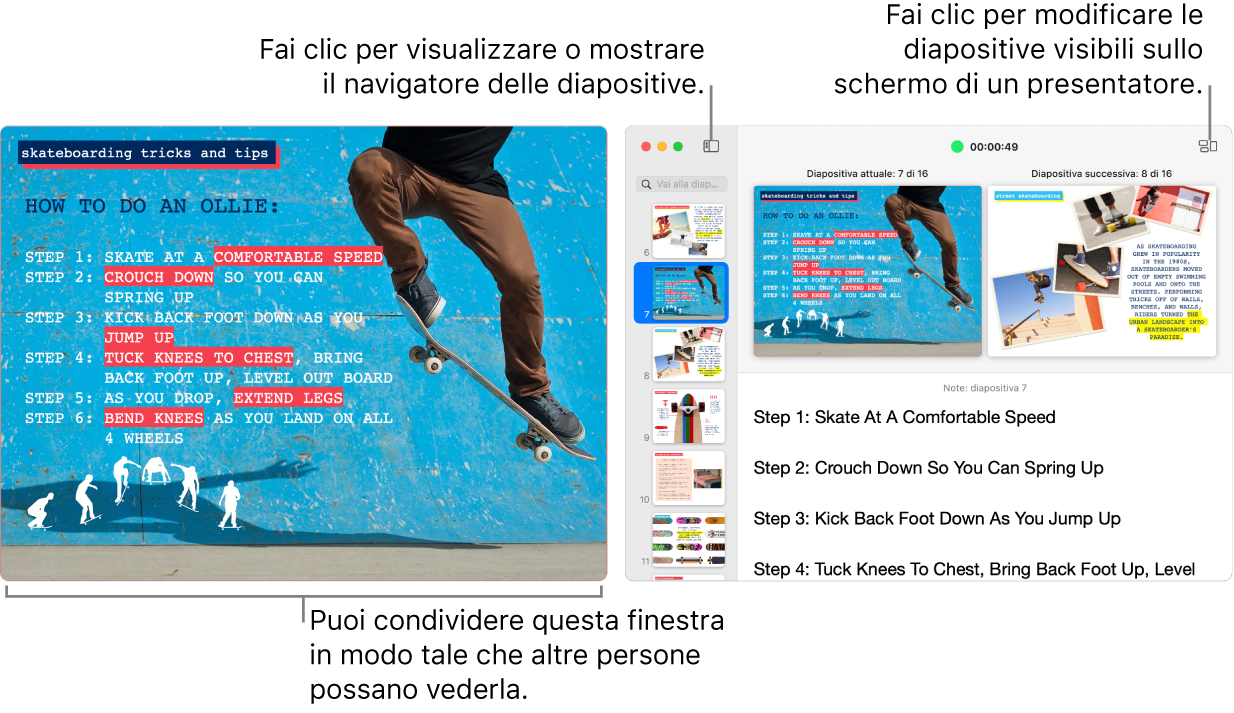 Una presentazione Keynote mostrata in una finestra, con lo schermo del presentatore in una finestra secondaria che contiene il navigatore diapositive, le note del presentatore e l'anteprima della diapositiva.