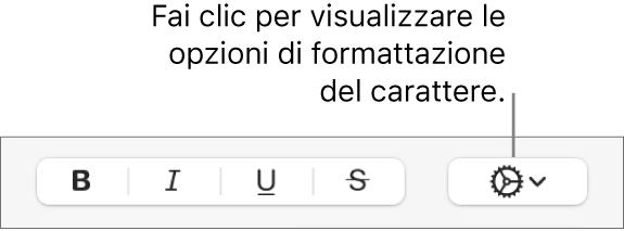 """Il pulsante """"Opzioni avanzate"""" accanto ai pulsanti Grassetto, Corsivo e Sottolineato."""