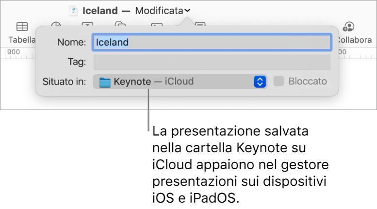 Finestra di dialogo Salva per una presentazione con Keynote—iCloud nel menu a comparsa Dove.