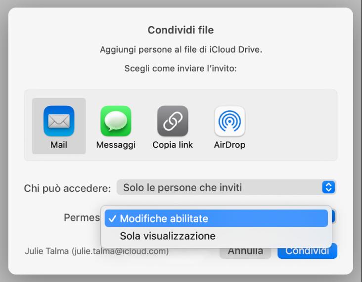 """la sezione """"Opzioni di condivisione"""" della finestra di dialogo di collaborazione con il menu a comparsa Permessi aperto e """"Può apportare modifiche"""" selezionato."""