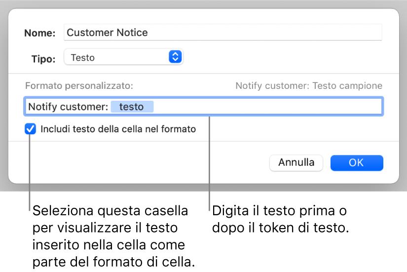 Formato di celle di testo personalizzato.