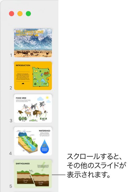 5つのスライドが縦に順番に表示されているスライドナビゲータ。下にスクロールしてさらにスライドを表示できます。
