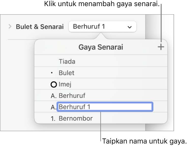 Menu timbul Gaya Senarai dengan butang Tambah di penjuru kanan atas dan nama gaya ruang letak dengan teksnya dipilih.