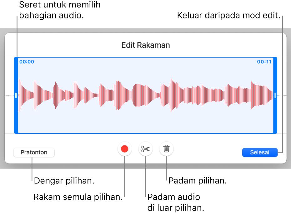 Kawalan untuk mengedit audio yang dirakam. Pemegang menunjukkan bahagian rakaman yang dipilih dan butang Pratonton, Rakam, Pangkas, Padam dan Mod Edit adalah di bawah.