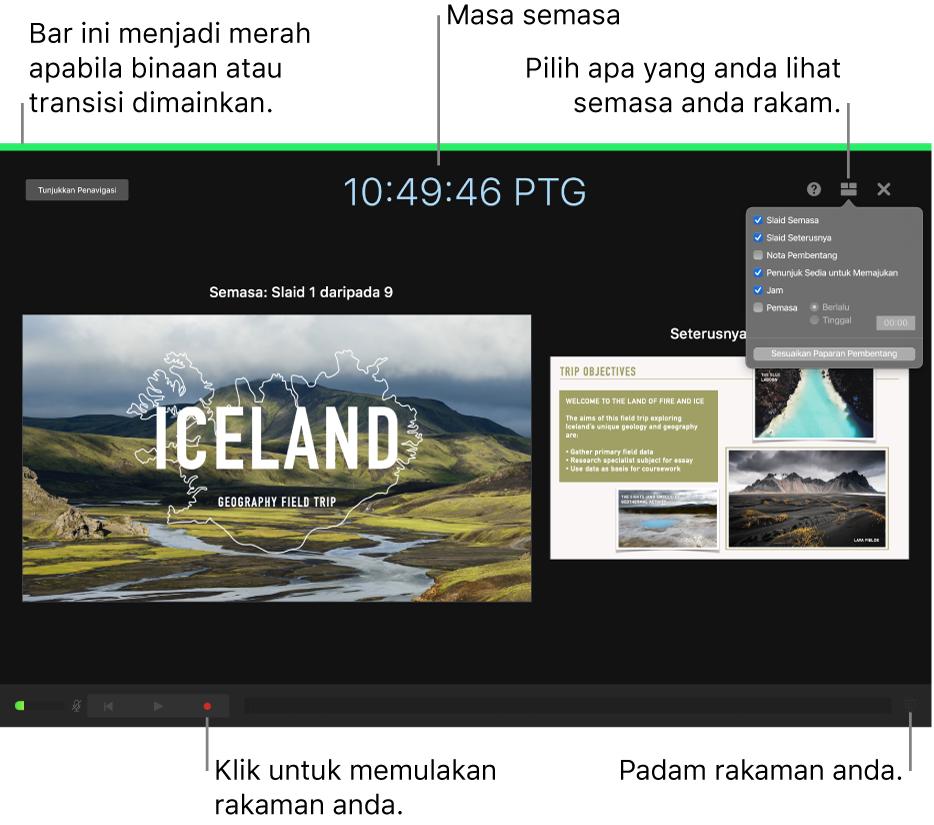 Tangkapan skrin mod rakaman suara pada paparan penyampai. Slaid semasa dan seterusnya, masa semasa dan kawalan paparan penyampai kelihatan. Kawalan untuk memulakan dan menamatkan rakaman dan kawalan untuk memadamkan rakaman muncul berhampiran bahagian bawah paparan.