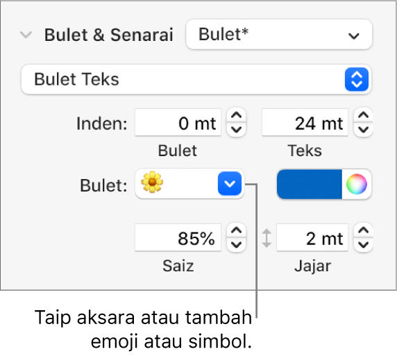 Bahagian Bulet & Senarai daripada bar sisi Format. Medan Bulet menunjukkan emoji bunga.