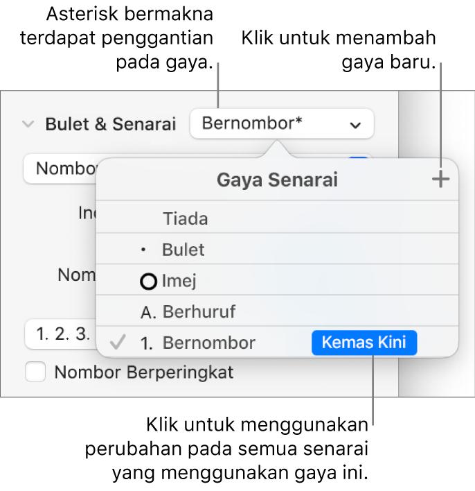 Menu timbul Gaya Senarai dengan asterisk yang menunjukkan penggantian dan petak bual pada butang Gaya Baru dan submenu pilihan untuk menguruskan gaya.