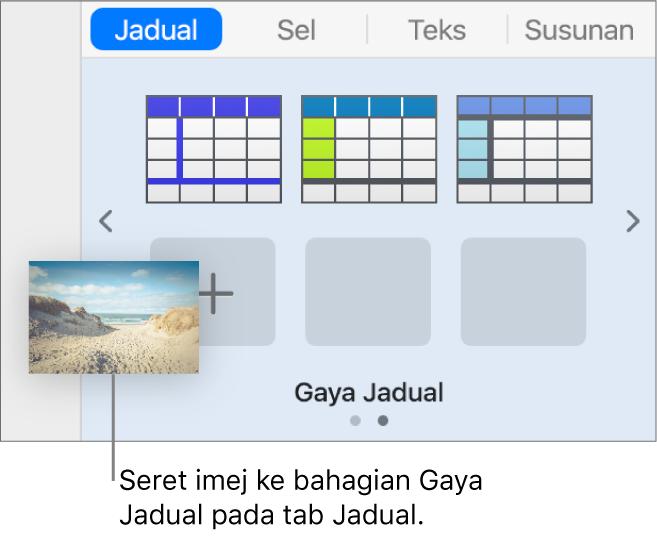 Menyeret imej ke dalam gaya jadual untuk mencipta gaya baru.