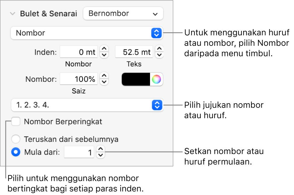 Kawalan untuk menukar gaya nombor dan jarak senarai.