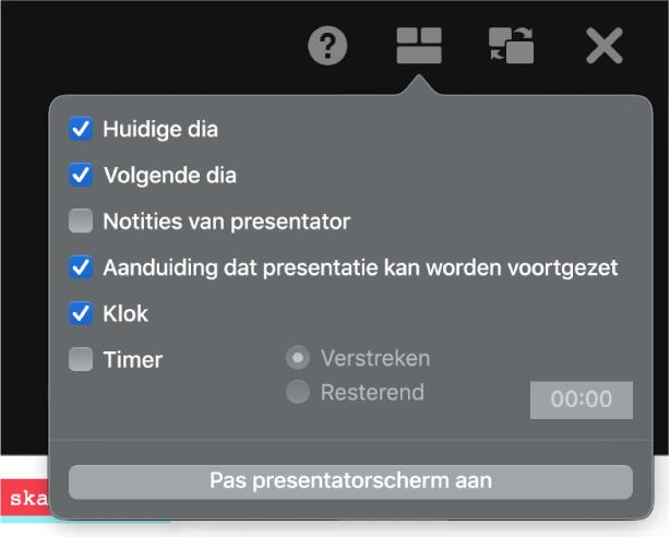 De opties voor het presentatorscherm: 'Huidige dia', 'Volgende dia', 'Notities van presentator', 'Aanduiding dat presentatie kan worden voortgezet', 'Klok' en 'Timer'. Bij 'Timer' kun je aangeven of je de verstreken tijd of de resterende tijd wilt weergeven.