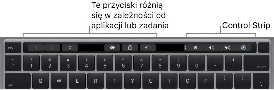 Klawiatura zpaskiem TouchBar nad klawiszami. Przyciski do modyfikowania tekstu znajdują się po lewej oraz na środku. Znajdujący się po prawej stronie pasek kontroli zawiera narzędzia systemowe, pozwalające na regulowanie jasności igłośności oraz na korzystanie zSiri.