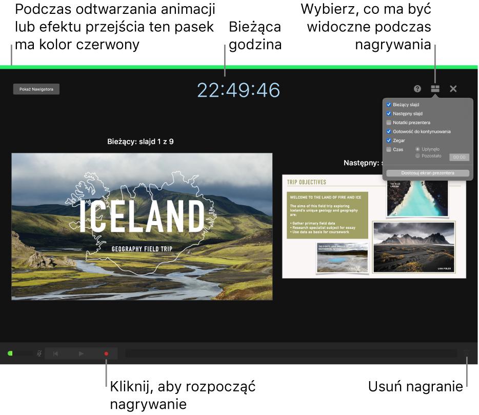 Zrzut ekranu przedstawiający tryb nagrywania głosu na ekranie prezentera. Widoczne są następujące elementy: bieżący slajd inastępny slajd, bieżący czas oraz narzędzia prezentera. Na dole ekranu znajduje się narzędzie rozpoczynania ikończenia nagrywania oraz narzędzie usuwania nagrania.