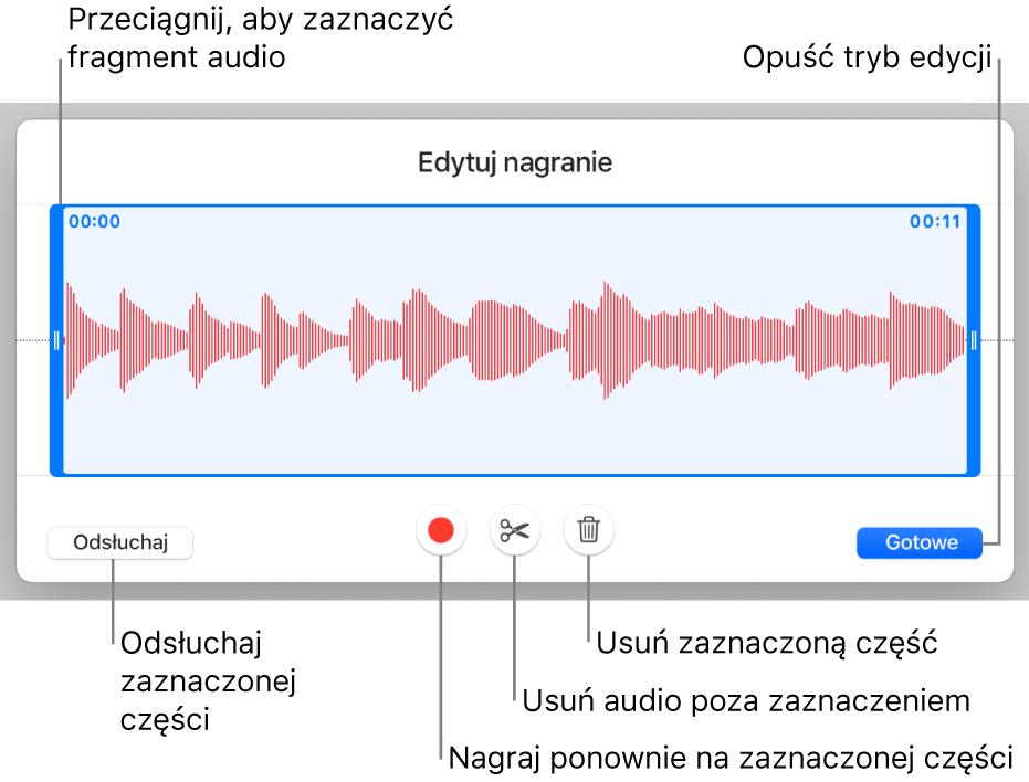Narzędzia do edycji nagranego dźwięku. Uchwyty wskazują zaznaczoną sekcję nagrania. Poniżej widoczne są przyciski podglądu, nagrywania, przycinania, usuwania oraz trybu edycji.