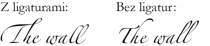Przykłady tekstu zligaturami ibez ligatur.