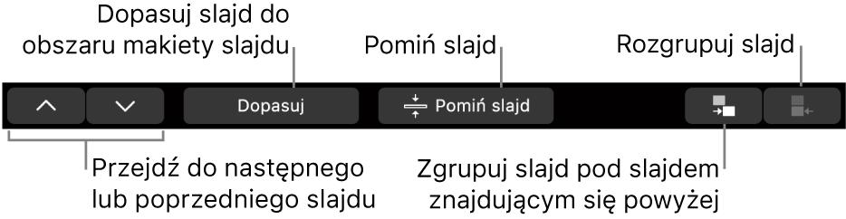 Pasek TouchBar na MacBookuPro, zawierający narzędzia do nawigacji do następnego lub poprzedniego slajdu, dopasowywania slajdu wobszarze układu slajdu, pomijania slajdu oraz grupowania lub rozgrupowywania slajdów.