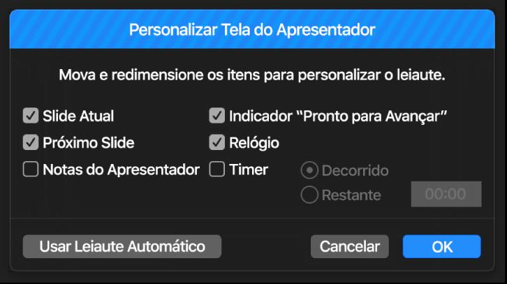 Diálogo Personalizar Tela do Apresentador.