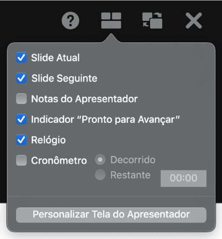 As opções de tela do apresentador, entre elas: Slide Atual, Slide Seguinte, Notas do Apresentador, Indicador Pronto para Avançar, Relógio e Timer. O timer tem opções adicionais para mostrar o tempo decorrido ou o tempo restante.