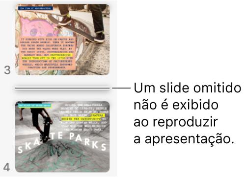Navegador de slides com um slide omitido exibido como uma linha horizontal.