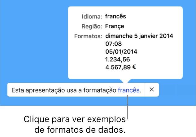 A notificação da configuração diferente de idioma e região, com exemplos de formatação no idioma e região diferentes.