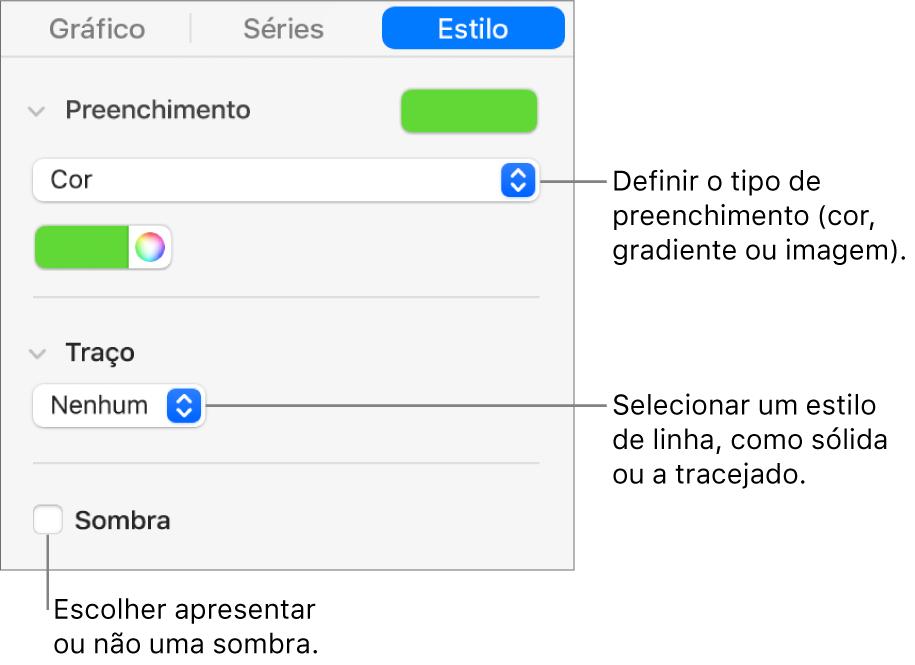 Controlos para alterar a aparência da série de dados.