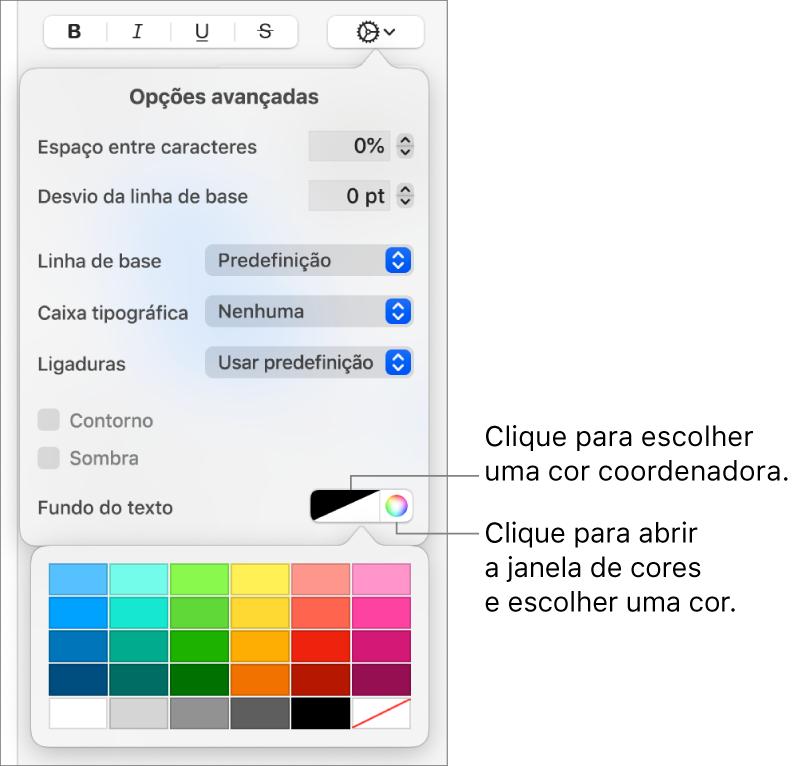 Controlos para escolher uma cor de fundo do texto.