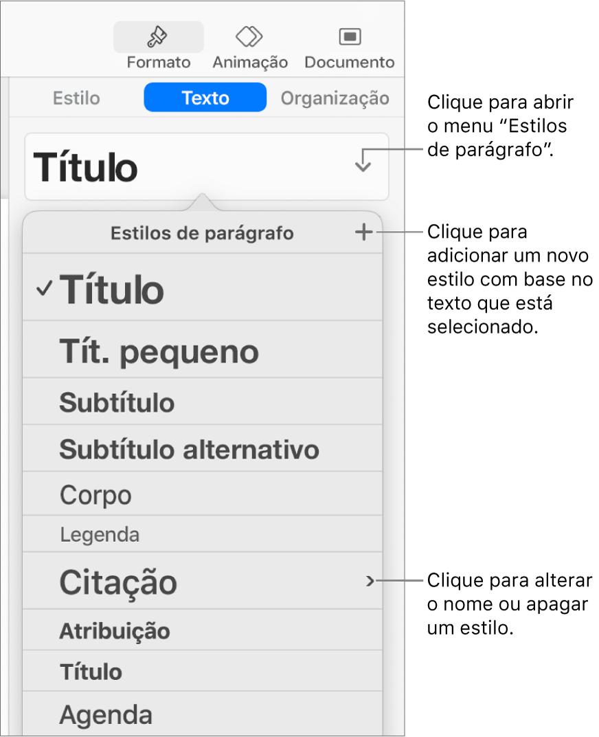 """O menu """"Estilos de parágrafo"""", mostrando os controlos para adicionar ou alterar um estilo."""