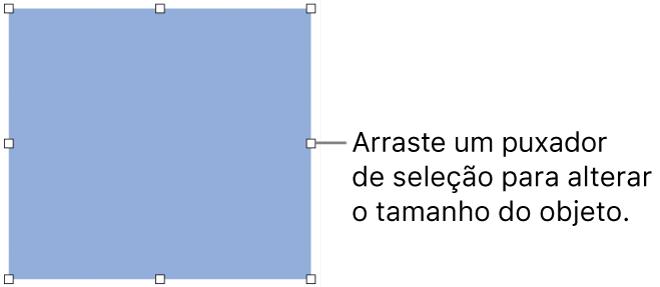 Um objeto com quadrados brancos no seu contorno para alterar o tamanho do objeto.