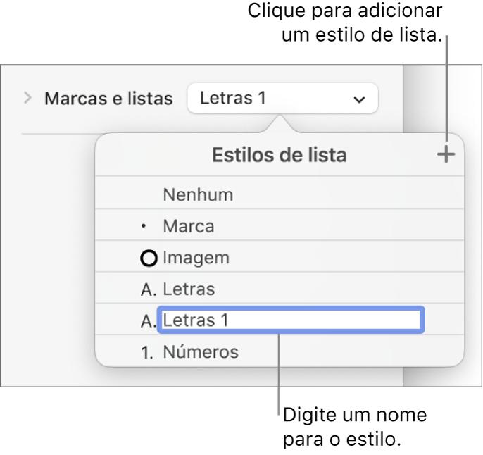 """O menu pop-up """"Estilos de lista"""" com um botão Adicionar no canto superior direito e um nome de estilo do marcador de posição com o respetivo texto selecionado."""