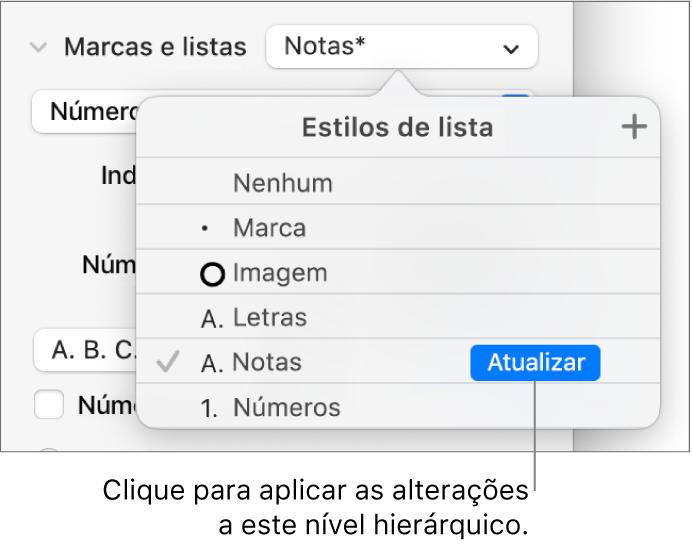 """O menu pop-up """"Estilos de lista"""" com um botão Atualizar junto ao nome do novo estilo."""