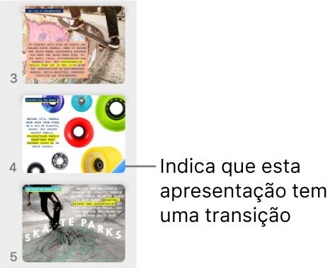 Um triângulo azul sobre um diapositivo indica que o dispositivo tem uma transição.