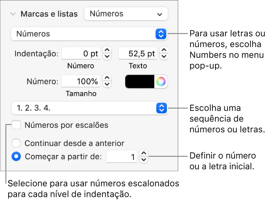 Controlos para alterar o estilo de número e o espaçamento de uma lista.